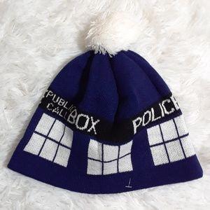 Dr. Who Logic & TM BBC Call Box Pom-Pom Hat- OS